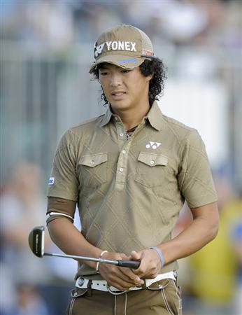 全英オープン第2ラウンド、11番でボギーとなりさえない表情の石川遼(ロイヤル・セントジョージズGC、共同)
