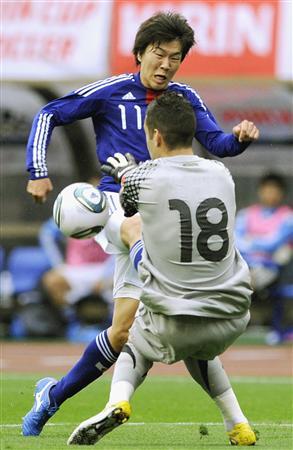 エースFWとして活躍を期待される永井謙佑。(6月1日のオーストラリアとの強化試合でゴールを決めた、共同)