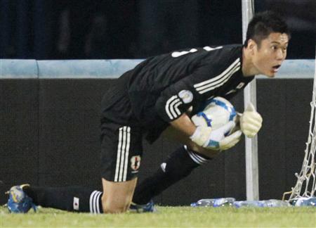 サッカーW杯3次予選。ウズベキスタン戦で好セーブを連発したGK川島=6日、タシケント(共同)