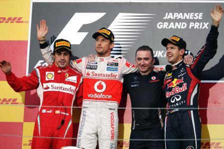 バトン(左から2人目)が優勝した昨年の日本GPの表彰台 Red Bull