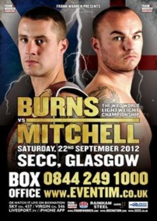 9月に行われたミッチェル戦のポスター。左がバーンズ。