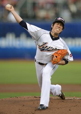 「Japan」のエースとして準決勝のプエルトリコ戦に先発し力投した前田健太(2013年3月18日、サンフランシスコ、共同)