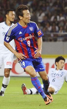 FC東京―大分 前半、先制ゴールを決めるFC東京・渡邉=8月3日、味スタ(共同通信)