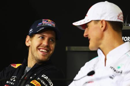 フェテル(左)はシューマッハー(右)のシーズン連勝記録を塗り替えた Red Bull