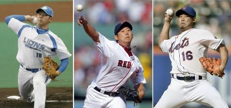所属3球団での松坂大輔投手。左から2006年西武、2010年レッドソックス(ロイター=共同)、2014年メッツ(共同)