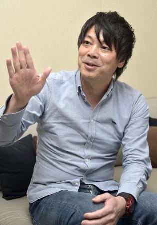 四国アイランドリーグplusの鍵山誠CEO=19日、東京都港区