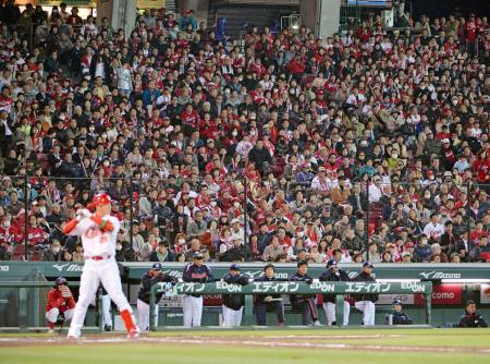 超満員の観衆が見守る中で投手と打者が対決し試合は動いていく。息詰まるような瞬間の積み重ねが野球ファンにはたまらない魅力となる。広島vsヤクルトの開幕戦から(2015年3月27日、共同)