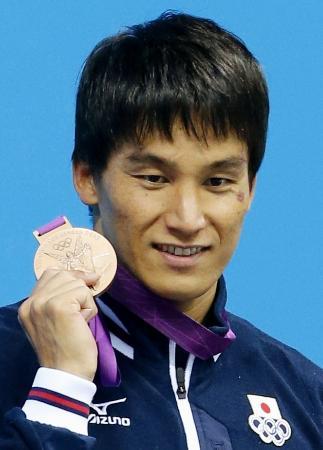 ロンドン五輪の200メートルバタフライで前回北京大会に続く銅メダルを獲得した松田丈志(2012年8月1日、共同)