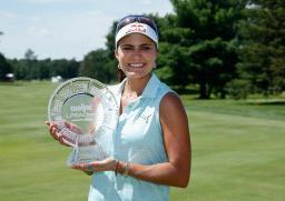 米女子ゴルフのメイヤー・クラシック 今季ツアー初勝利のレキシー・トンプソン=26日、ベルモント(ゲッティ=共同)