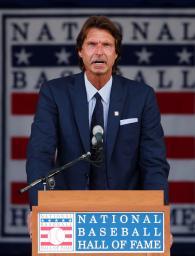 米国の野球殿堂入り式典であいさつするランディ・ジョンソン氏=クーパーズタウン(AP=共同)