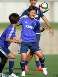 東アジア・カップに向け練習するサッカー女子日本代表の猶本=名古屋市内
