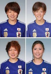 「オールスターメンバー」に選出された(左上から時計回りで)MF宮間、DF有吉、MF宇津木、MF阪口