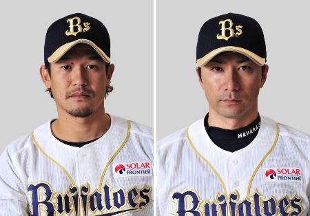 オリックスの坂口智隆外野手(左)、馬原孝浩投手