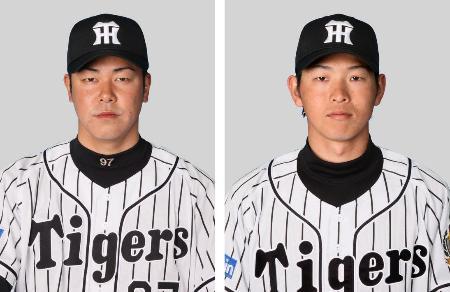 玉置隆投手(左)、田上健一外野手