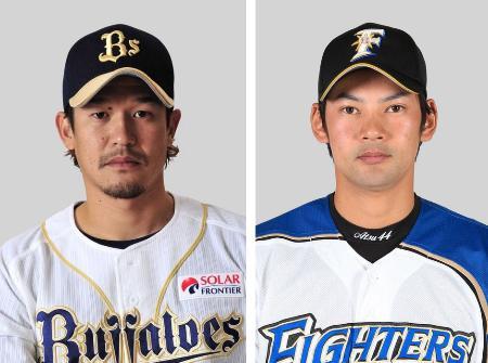 坂口智隆外野手(左)、鵜久森淳志外野手