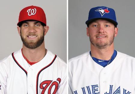 ナショナルズのハーパー外野手(左、ゲッティ=共同)、ブルージェイズのドナルドソン内野手(ゲッティ=共同)