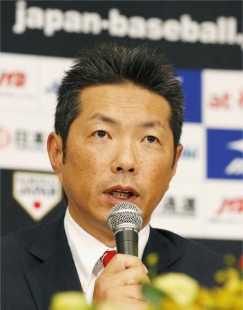 記者会見する野球日本代表の小久保監督=22日、東京都内のホテル