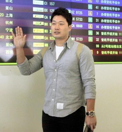 阪神の呉昇桓=10月23日、関西空港