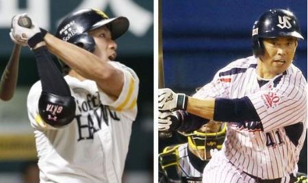 ソフトバンクの柳田(左)=8月11日、ヤクルトの雄平=10月2日