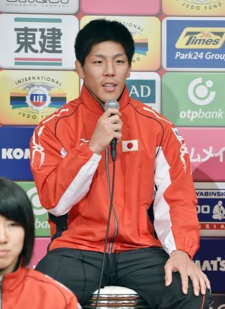 グランドスラム東京大会を前に記者会見する男子73キロ級の中矢力=3日、東京都内のホテル