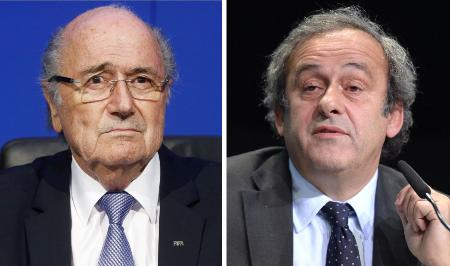 FIFAのブラッター会長(ロイター=共同)、プラティニ副会長(AP=共同)