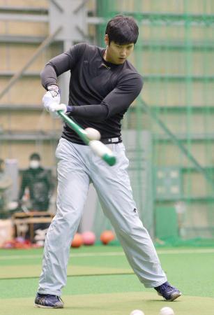 打撃練習する日本ハムの大谷=千葉県鎌ケ谷市