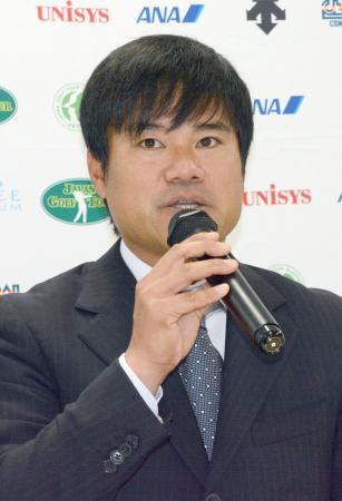 日本ゴルフツアー選手会の新会長に選出された宮里優作=6日、東京都港区
