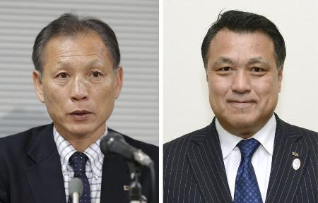 日本サッカー協会の原博実専務理事(左)、田嶋幸三副会長