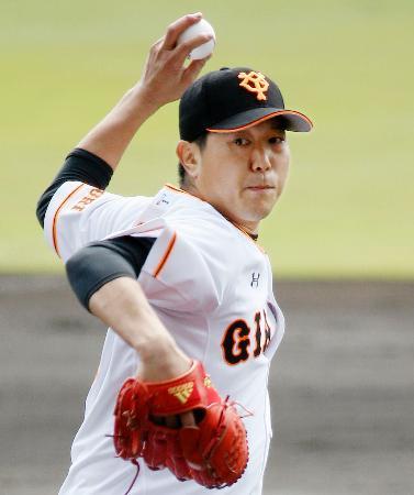 韓国プロ野球LG戦で好投した巨人・内海=那覇