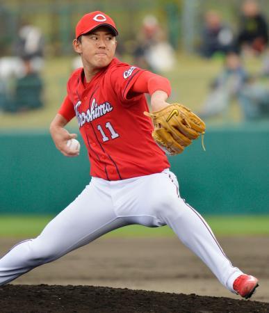 日本ハムとの練習試合で、3回を無安打無失点と好投した広島・福井=名護