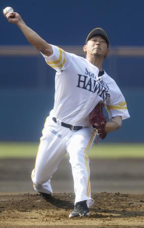 韓国プロ野球斗山との練習試合に先発したソフトバンク・松坂=宮崎アイビー