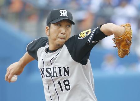6回無失点で、阪神に復帰後初勝利を挙げた藤川=横浜