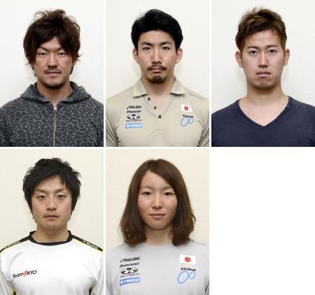 上段左から中川誠一郎、渡辺一成、脇本雄太。下段左から窪木一茂、塚越さくら
