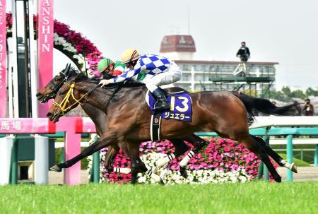 桜花賞を制したジュエラー。奥は2着のシンハライト=阪神競馬場