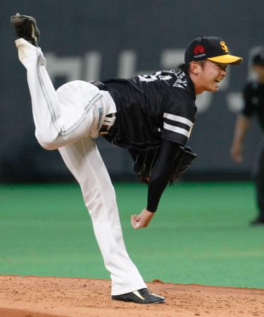 日本ハム戦に先発、2勝目を挙げたソフトバンク・東浜=札幌ドーム