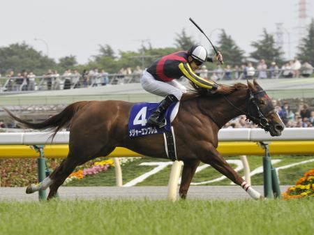 第21回NHKマイルカップで優勝した、クリストフ・ルメール騎乗のメジャーエンブレム=東京競馬場