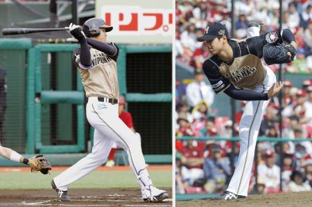 楽天戦に「6番・投手」で先発出場し、7回に右中間へ適時二塁打を放つ(左)日本ハム・大谷。投手としては7回1失点で3勝目を挙げた=コボスタ宮城