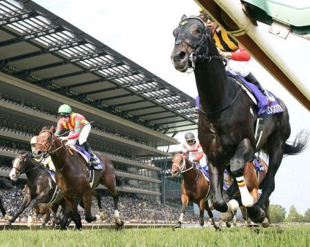 第66回安田記念でゴールする1着のロゴタイプ(右端)と2着のモーリス(左から2頭目)=東京競馬場