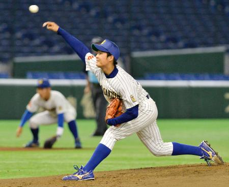 第一工大―中央学院大 2安打で完封と好投した中央学院大・石井=東京ドーム