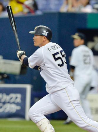 1回オリックス2死二塁、T―岡田が右中間に先制二塁打を放つ=京セラドーム