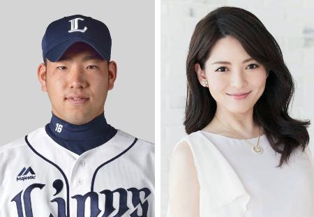 菊池雄星投手(左)、深津瑠美さん