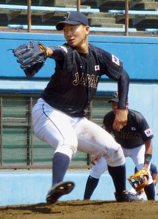 三菱日立パワーシステムズ横浜との練習試合に先発し、3回無安打無失点だった日本代表の宮台=バッティングパレス相石ひらつか