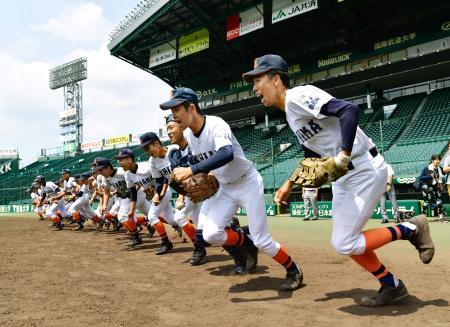 甲子園練習で、グラウンドへ駆けだす市尼崎の選手たち=甲子園