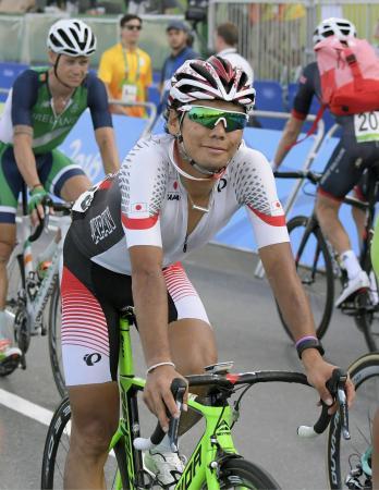 男子個人ロードレース 27位でゴールした新城幸也=リオデジャネイロ(共同)