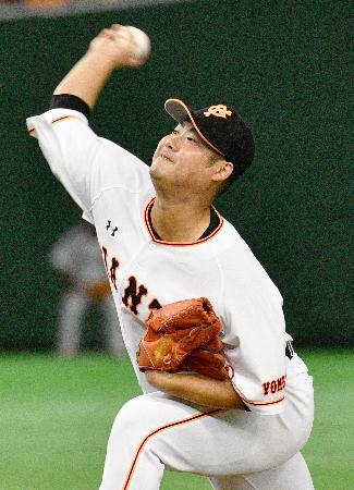 8回無失点で5勝目を挙げた巨人・大竹寛=東京ドーム
