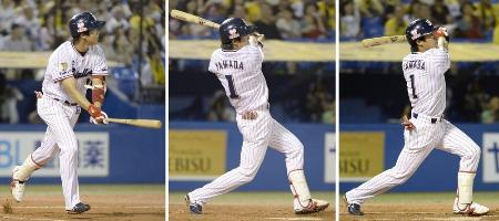 9月10日の阪神戦で3本塁打を放ったヤクルト・山田。左から1回の3ラン、3回のソロ、7回のソロ=神宮