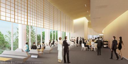 新国立競技場の内部のイメージ(大成建設・梓設計・隈研吾建築都市設計事務所JV作成/JSC提供)