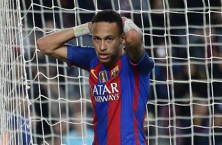 サッカーのスペイン1部リーグ、バルセロナのブラジル代表FWネイマール(AP=共同)