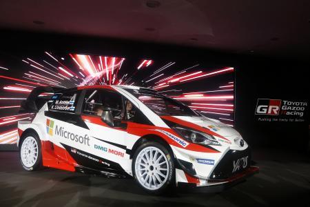 ヘルシンキで行われた発表会に登場したWRC参戦車両のヤリスWRC(日本名:ヴィッツ)。マイクロソフトがメインスポンサーになった=TOYOTA GAZOO RACING