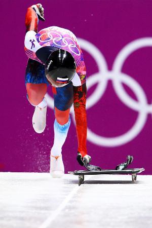 ソチ冬季五輪でのスケルトン競技=2014年2月(ゲッティ=共同)
